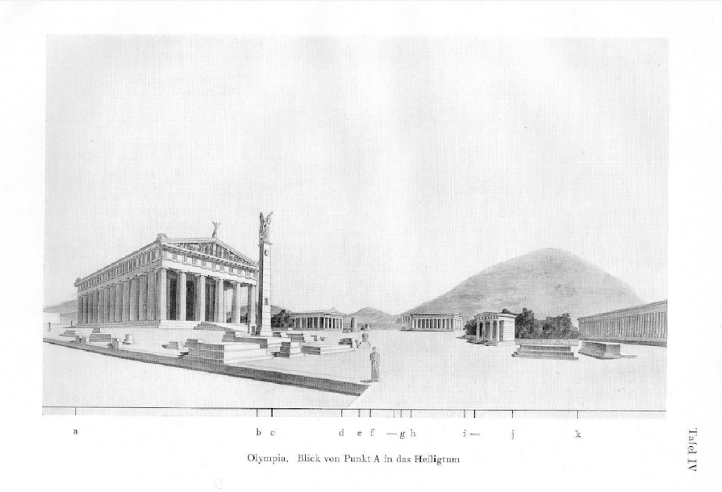 Η αρχαία Ολυμπία ως οπτική-χωρική σύνθεση. Πηγή: Konstantinos A. Doxiadis, Raumordnung im Griechischen Städtebau, Heidelberg, Kurt Vowinckel Verlag, 1937