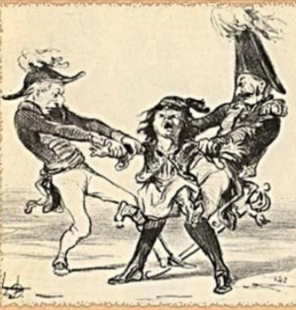 Γελοιογραφία του Ονορέ Ντομιέ (H. Daumier) που σατιρίζει τον έντονο αγγλορωσικό ανταγωνισμό της περιόδου 1840-71, για την κηδεμονία του νεοσύστατου ελληνικού κράτους. Μαρκεζίνης, Σ., Πολιτική Ιστορία της Νεωτέρας Ελλάδος 1828-1964: Η Αναγέννησις της Ελλάδος 1828-1862, Εκδόσεις Πάπυρος, Αθήνα 1966, σ. 222. © Σ. Μαρκεζίνης.