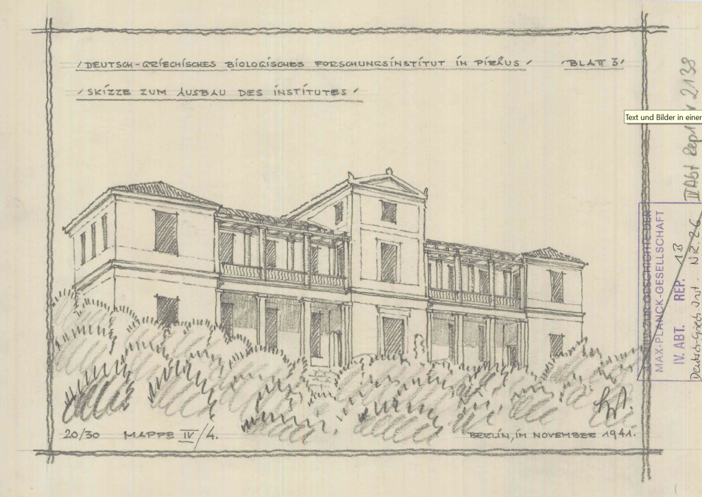 Skizze des Deutsch Griechischen Biologischen Forschungsinstituts [VI. Abt., Rep. 1, nein. 2138]. Archiv der Max-Planck-Gesellschaft, Berlin.