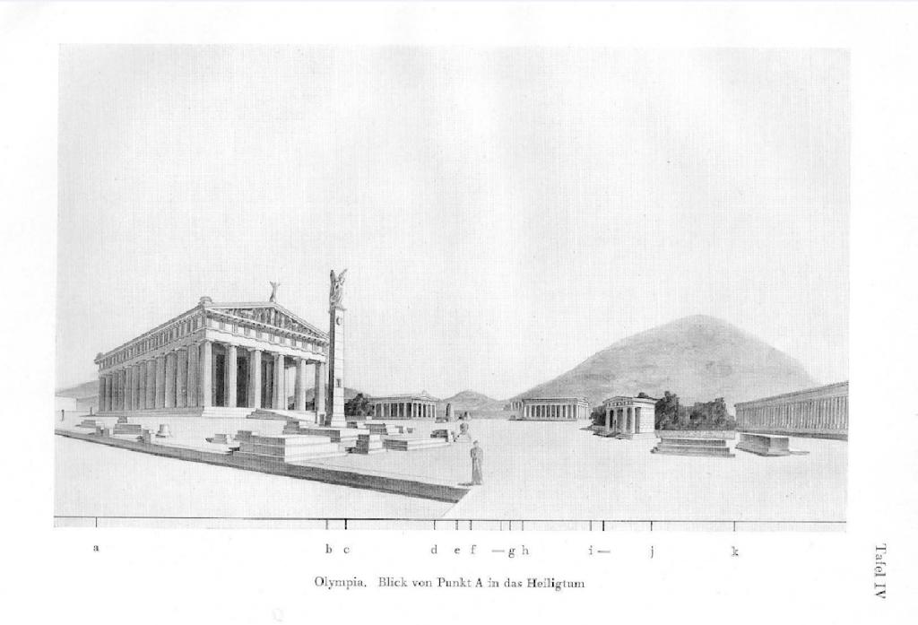 Das antike Olympia als visuell-räumliche Komposition. Quelle: Konstantinos A. Doxiadis, Raumordnung im Griechischen Städtebau, Heidelberg, Kurt Vowinckel Verlag, 1937.