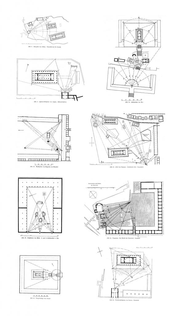 Einige der Grundrisse, die Doxiadis anhand des in seiner Dissertation vorgeschlagenen Systems analysierte. Quelle: Konstantinos A. Doxiadis, Raumordnung im Griechischen Städtebau, Heidelberg, Kurt Vowinckel Verlag, 1937.