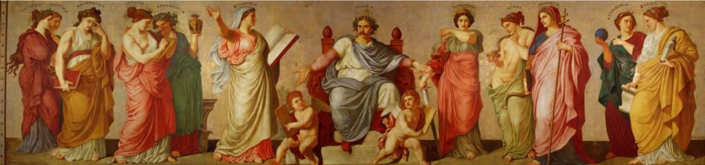 Der Fries der Propyläen mit König Otto, umgeben von den Musen und den Wissenschaften.