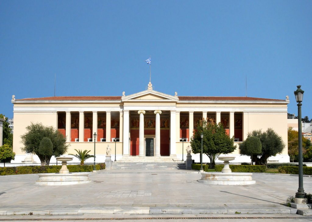 Die Propyläen, das Hauptgebäude der Nationalen und Kapodistrias Universität Athen.