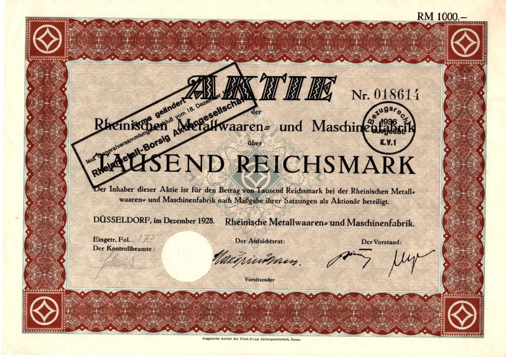 Aktie über 1000 RM der Rheinischen Metallwaaren- und Maschinenfabrik vom Dezember 1928; umgestempelt auf Rheinmetall-Borsig AG