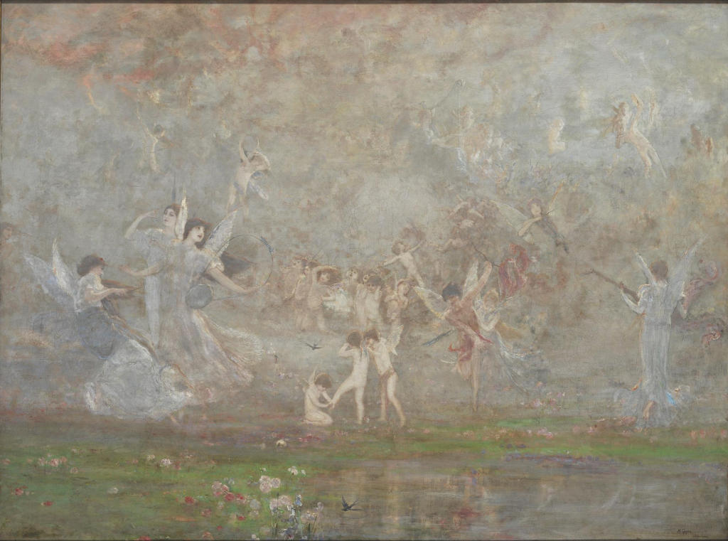 Nikolaos Gysis, Frühlingssymphonie, 1886, Öl auf Leinwand, 102 x 139 cm.